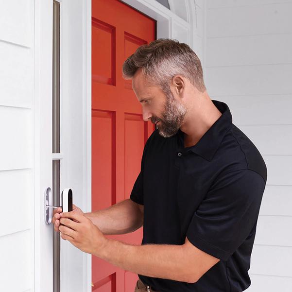 technician installing smart Hello doorbell